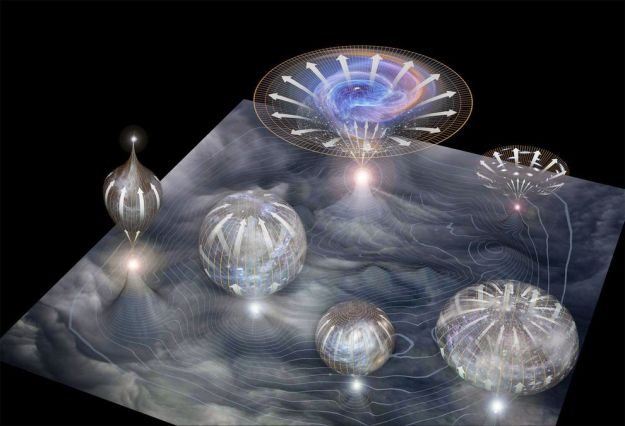 This artist's conception shows different quantum fluctuations, some undergoing ``inflation'', others not (image by National Geographic).