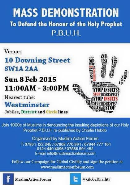 Muslim Action Forum demo flyer
