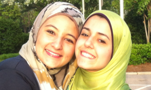 Razan Abu-Salha with her friend Rana Odeh